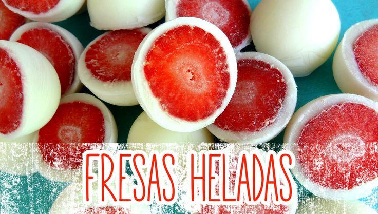 Receta: Bombones helados de fresa y yogurt -- Rápido y fácil