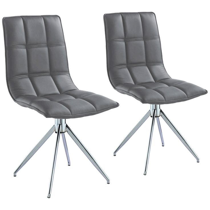 Apollo Gray Faux Leather Swivel Dining Chair Set of 2 - Style # 23A35