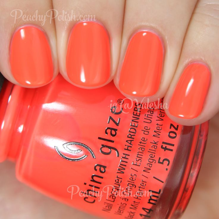China Glaze Red-y To Rave | Summer 2015 Electric Nights Collection | Peachy Polish #orange