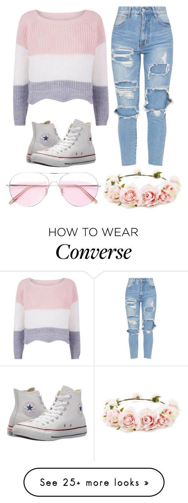 """Pastel Princess"" by ilasmessymind on Polyvore featuring Converse, Oliver Peoples, Forever 21 and pastelsweaters"