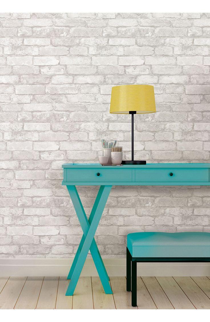 Wallpops 'Grey & White Brick' Reusable Peel & Stick Vinyl Wallpaper