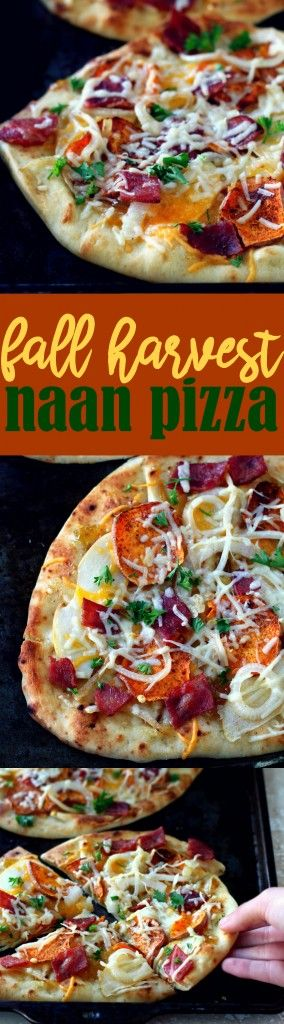 This rustic fall harvest naan pizza recipe features seasonal ingredients and is the perfect dinner for a cozy night fireside! #AD #HelloNaan