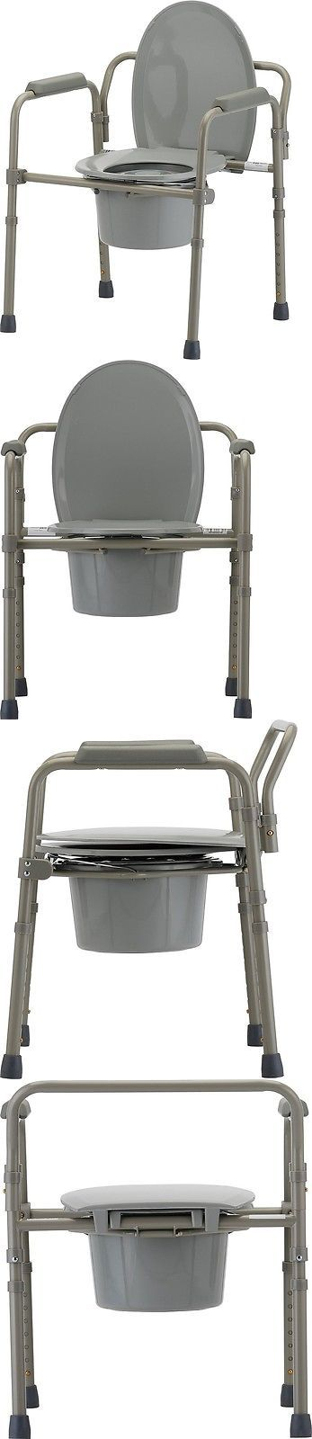 Toilet Frames and Commodes: Toilet Chair Seat Folding Bedside Commode Bucket Safety Frame Sturdy Portable -> BUY IT NOW ONLY: $76.76 on eBay!