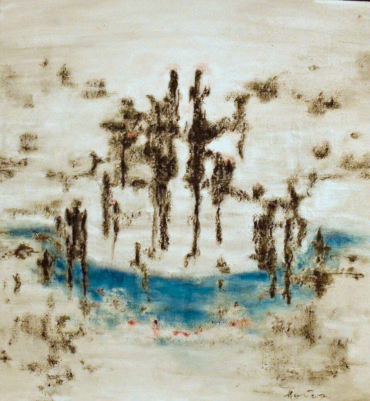 akryl a písek, 55x65cm. Hana Olivová