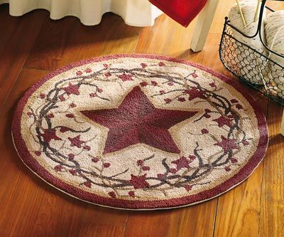 country scatter rugs | Country Stars Round Accent Rug from Collections Etc.