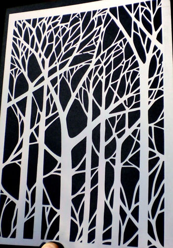 high detail airbrush stencil trees FREE POSTAGE | eBay