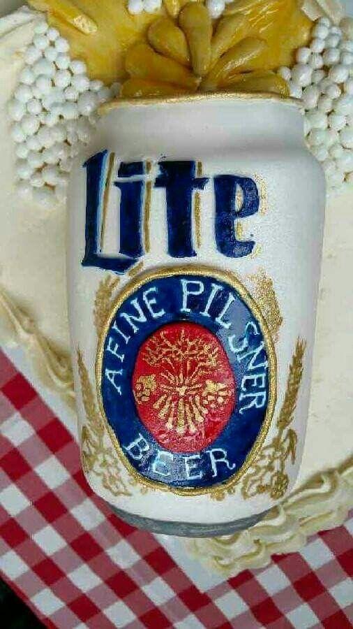 Beer cake / Miller Lite cake, hand carved / painted