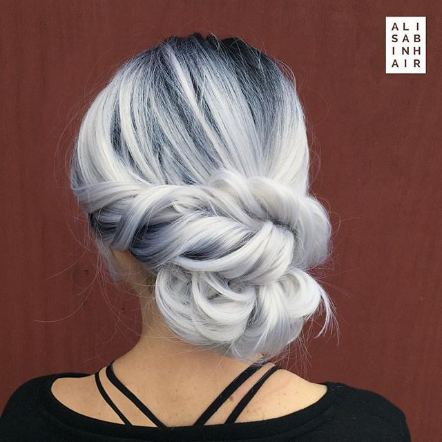 WEBSTA @ hotonbeauty - ❄️ First Day of Winter! ☃️ Icy Silver hair color and elegant chignon by @alisabinhair #hotonbeauty...#silverhair #platinumsilverhair #hairpainting #shadowroot #chignon #winterhair #winterhaircolor #1stdayofwinter #firstdayofwinter #winterfashion #winterfashion2016 #twistedupdo