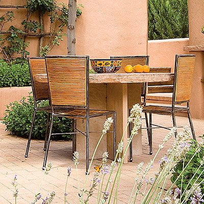 Albuquerque makes for ideal weather for outdoor courtyards and patios, like this Southwestern one.     @Sunset Magazine