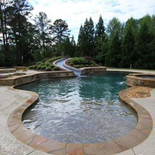 Free-Form Pool with Slide and Spa #2