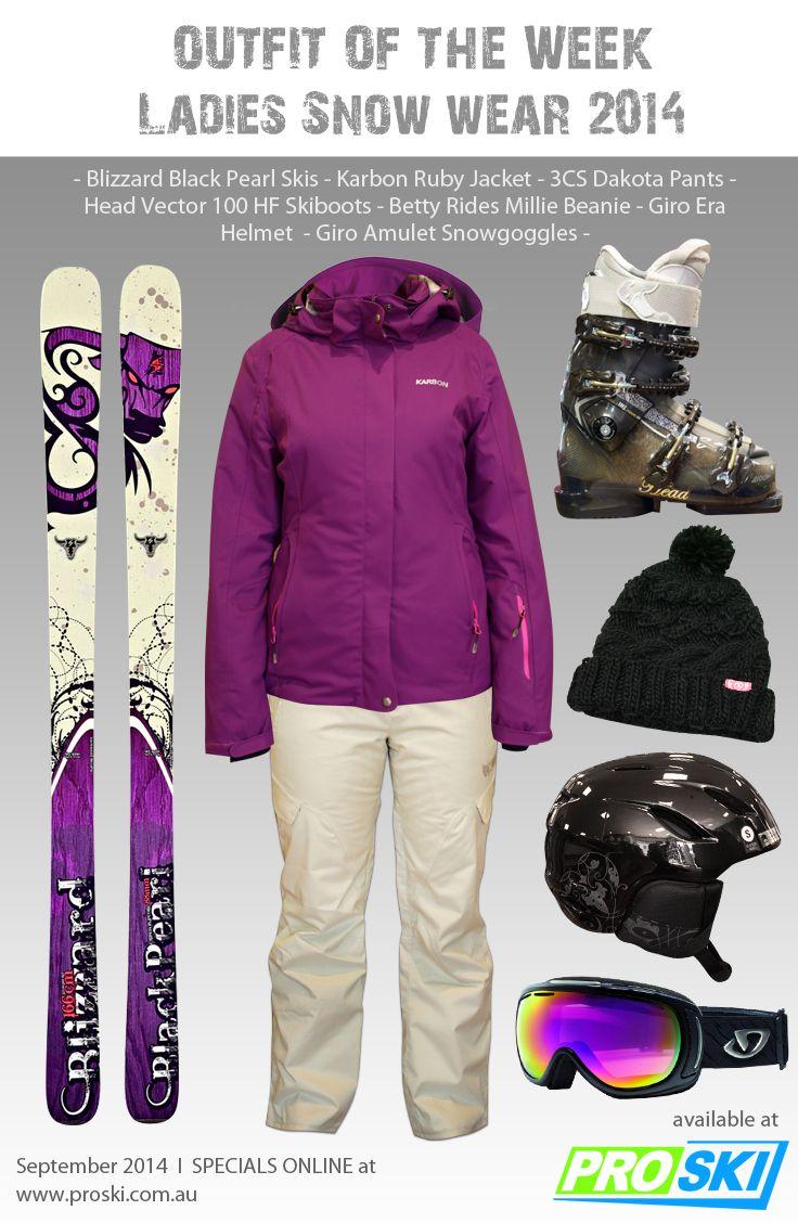 OUTFIT OF THE WEEK - Ladies Snow Wear 2014 available at PROSKI www.proski.com.au #snowtrends #snowgear #snowfashion #oufitoftheweek #skiboots #skis #beanie #gloves #blizzard #karbon #giro #head