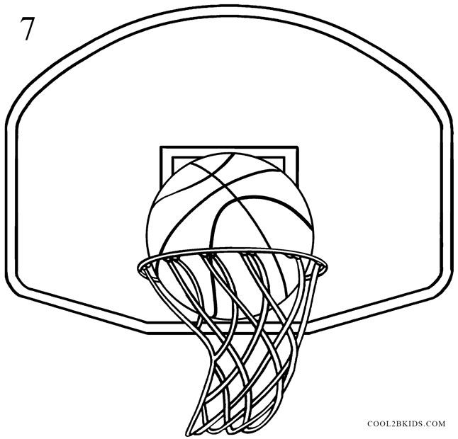 How To Draw A Basketball Hoop Step By Step Pictures Cool2bkids Basketball Drawings Drawings Basketball Painting