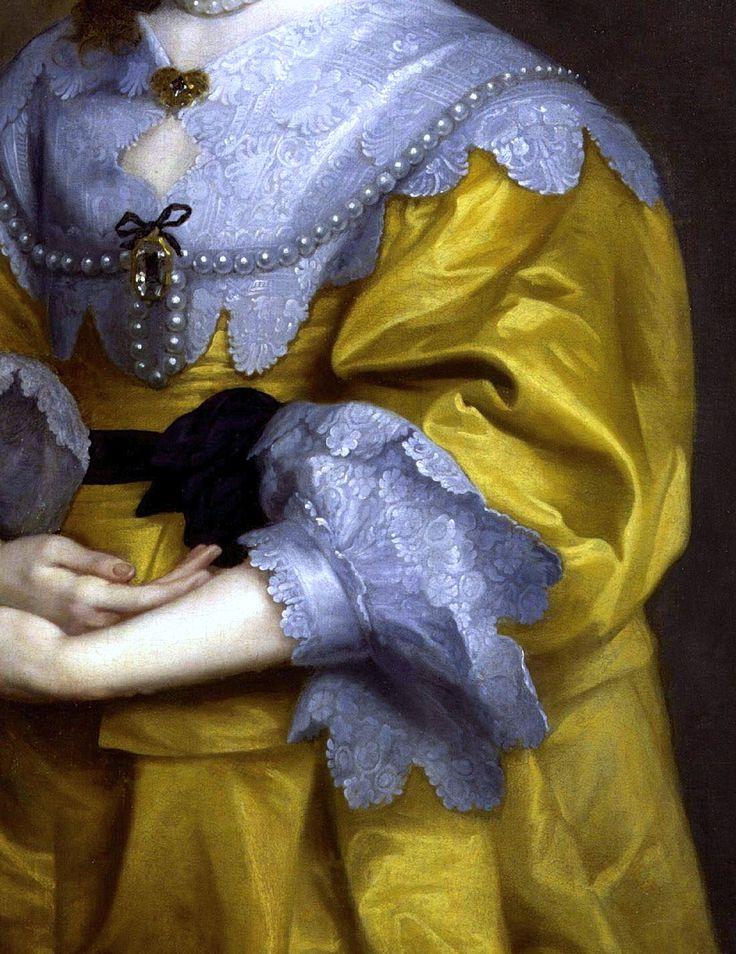 Portrait de la reine Henriette Marie, épouse du roi Charles I, Sir Anthony van Dyck Détail