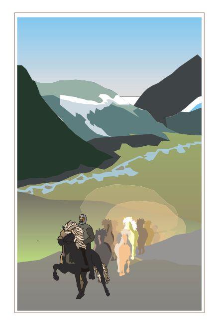 IJslandse paarden op een hoogvlakte op IJsland