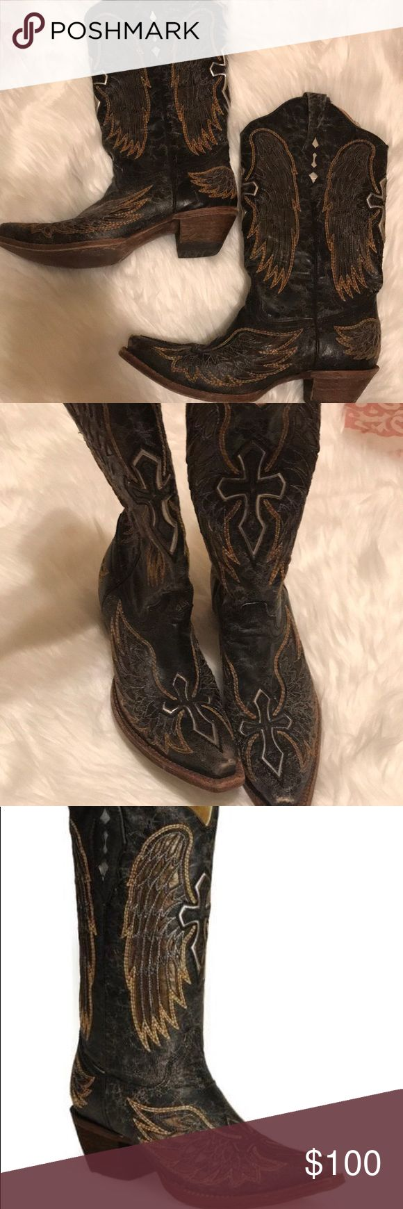 Corral Vintage Boots Corral Vintage Cross and angel wings boots Well loved, which means you'll look like a regular on the dance floor! Corral Shoes Heeled Boots