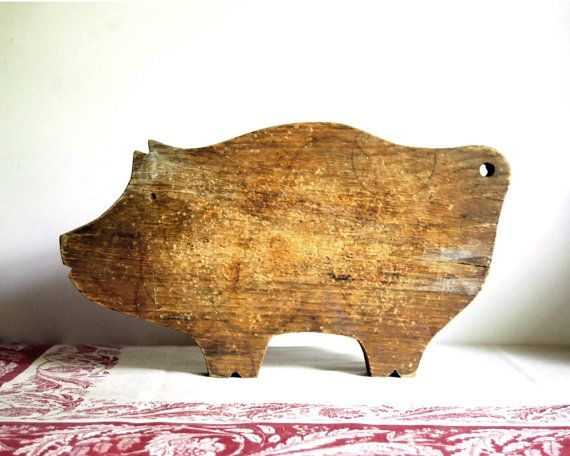 Wooden Pig Cutting board. Just found on Etsy. My mama has the same pig that she made when she was 12yrs old at Baconton, GA Baptist Church VBS! Made my heart smile, even it is on Etsy! :)