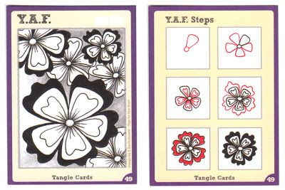 BEEZ in the Belfry: Tangle Card Challenge #1 - Y.A.F. (Yet Another Flower) pattern and steps to draw it.