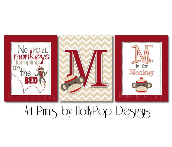 Nursery Wall DecorSock Monkey Wall ArtBaby Boy by HollyPopDesigns, $37.00