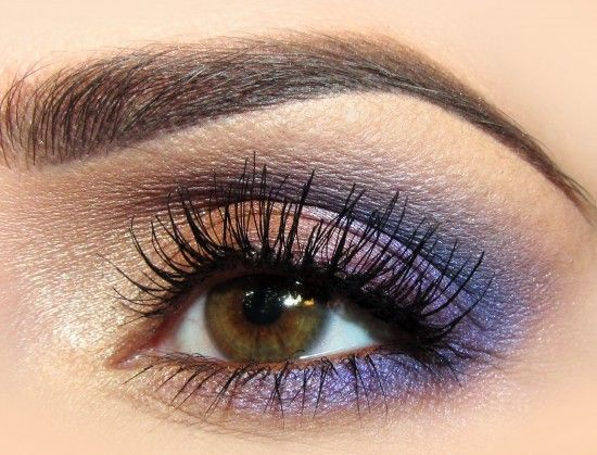 purple and coral eye makeup