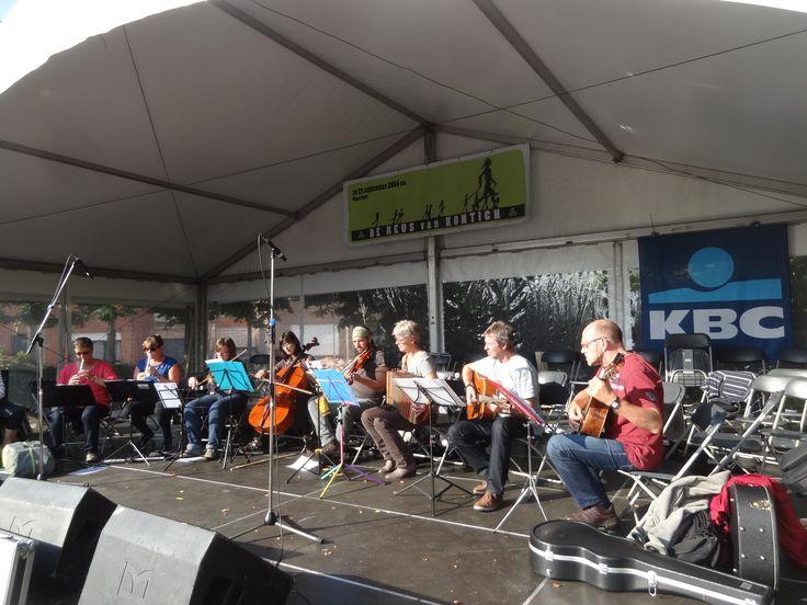 Een muziekgroep van Wild veld, speelde Keltische muziek