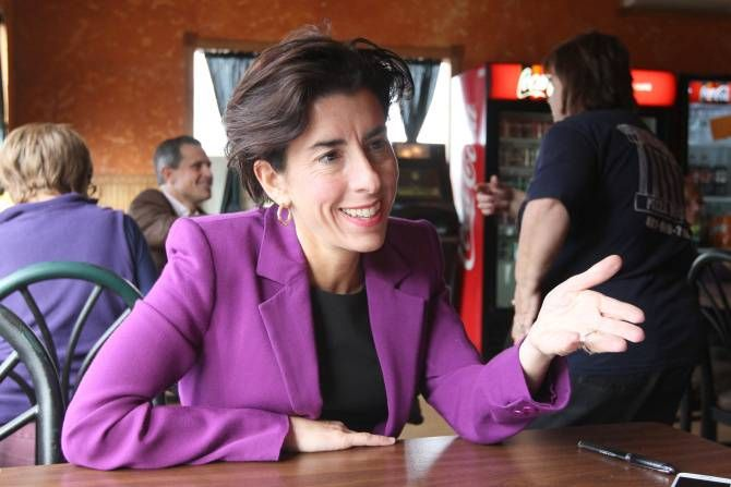 """Forget """"Politics and Pasta."""" On Friday, Democratic Governor-elect Gina M. Raimondo stepped into Athens Pizza House — within walking distance of her childhood home in Smithfield — ready to talk politics and pizza."""