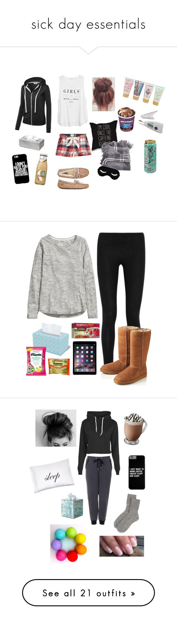 """sick day essentials"" by jillian07 ❤ liked on Polyvore featuring Fat Face, MANGO, UGG Australia, blomus, Forever 21, Donna Karan, H&M, Celestial Seasonings, Topshop and Boohoo"