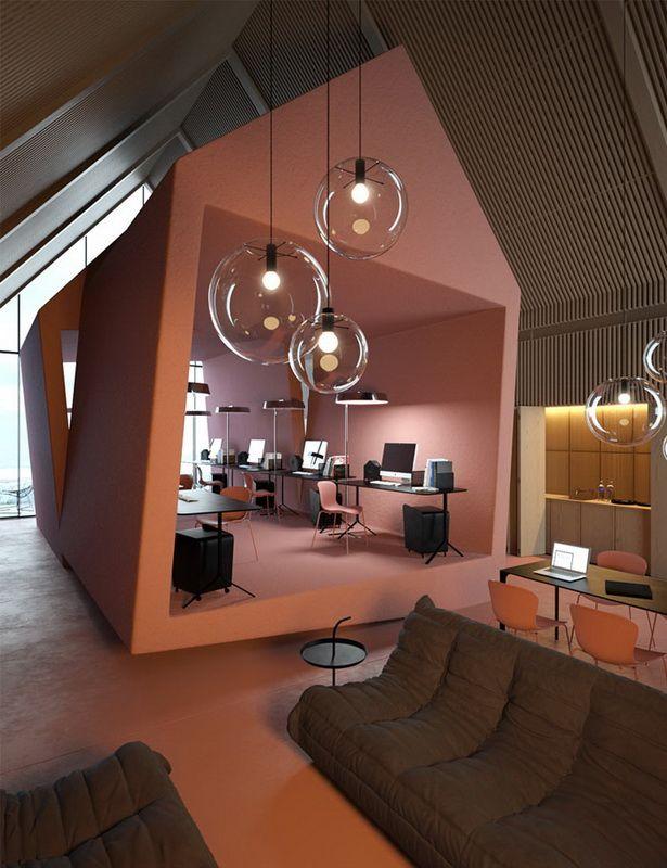Attic- концепт офиса, разработанный украинским дизайнером Василием Бутенко (Vasiliy Butenko). Офис имеет минималистский интерьер с изящными чистыми линиями и с такими элементами, как высокие сводчатые потолки и автономная структура внутри как инновационное рабочее место.