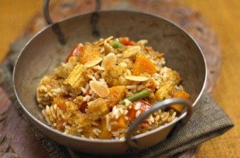 Receta arroz Biryani con ingredientes de Comercio Justo