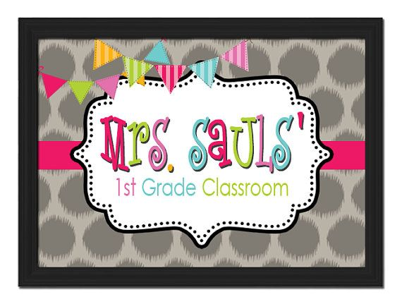 Custom Printable PDF File DIY Colorful Polka Dot Circle Bunt Flag Teacher Name Sign Letters School Gift Classroom Chalk Decor Wall ART Door