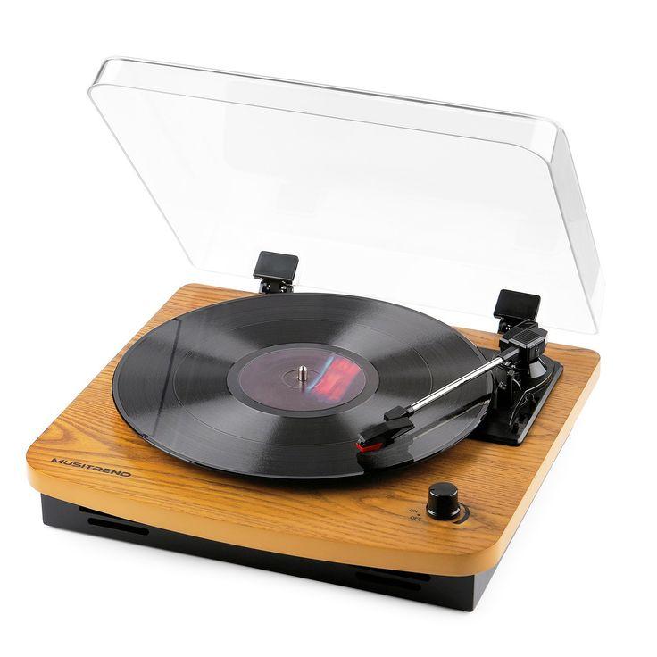 Musitrend USB Plattenspieler 33/45/78 U/min Stereo mit Vinyl-To-MP3 Funktion, mit 2 Lautsprechern Aufnahmefunktion Naturholz