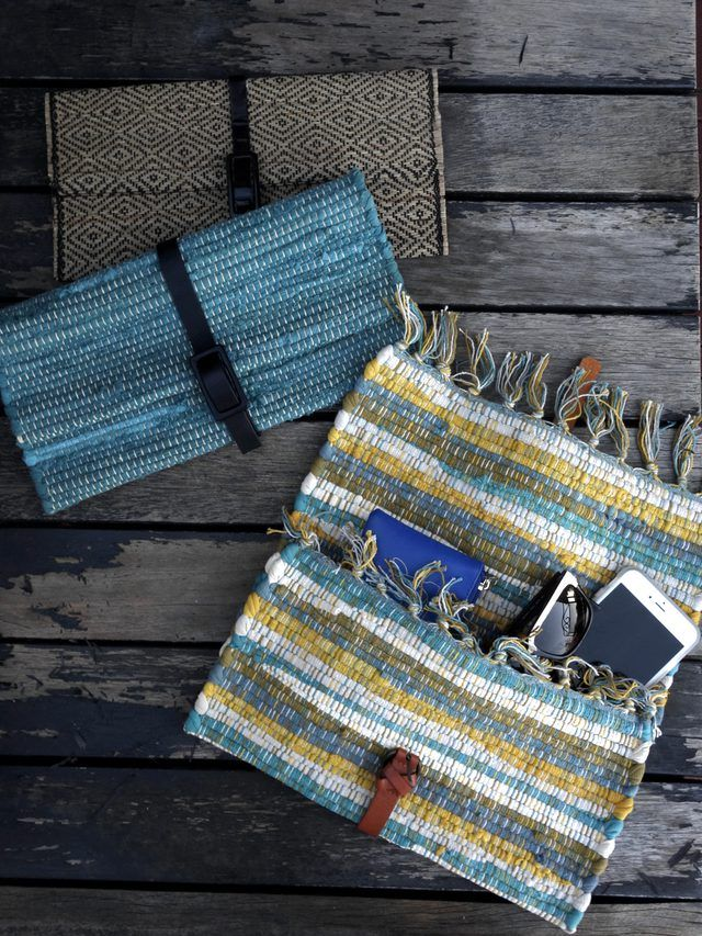 Video and written tutorial on how to make a cute, no-sew clutch bag out of an old placemat and belt.