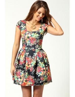 Rochie cu imprimeu floral, culoare multicolor