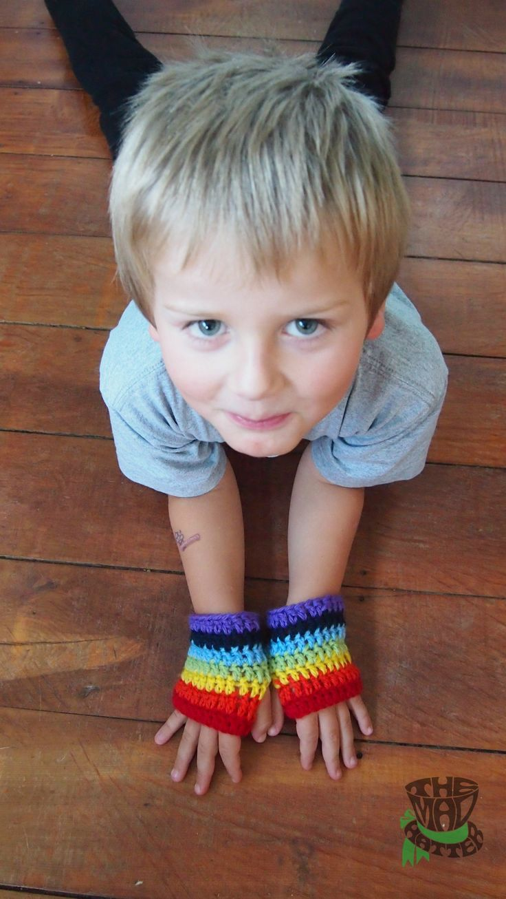 Rainbow Fingerless Gloves. Available in any size. Email themadhatternz@gmail.com