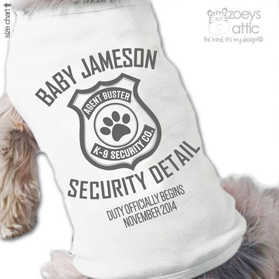 Big brother dog shirt - big brother to be security detail pregnancy announcement dog Tshirt--- cute! LK your fur baby needs this! :)
