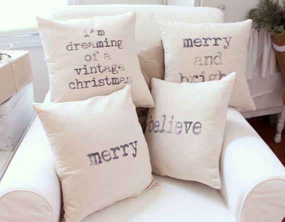 Christmas Vintage Pillow Cover Set of 4 Saying Throw Pillow