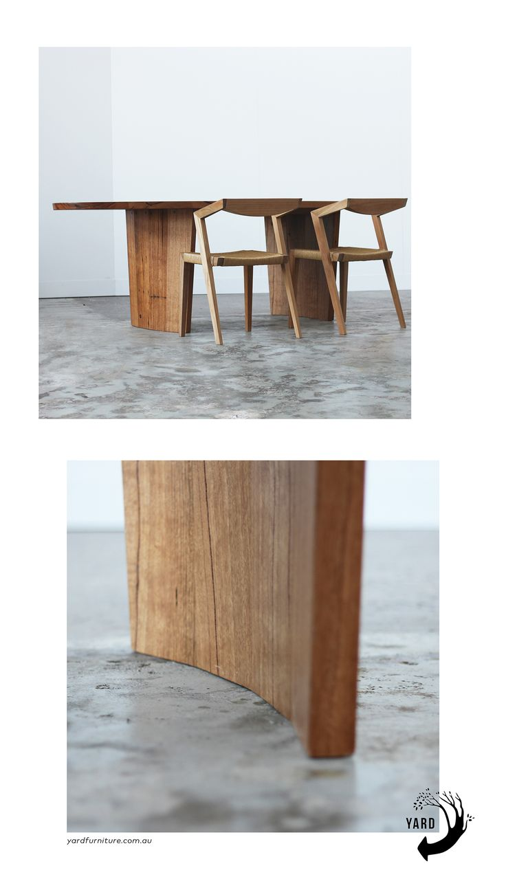 YARD Furniture. Cosmic Elliptical dining table. Made from salvaged hardwoods in Melbourne. Custom made design.