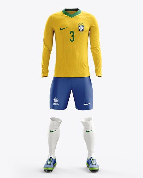 Download Football Kit With V Neck Long Sleeve Mockup Front View In Apparel Mockups On Yellow Images Object Mockups Clothing Mockup Soccer Kits Free Football