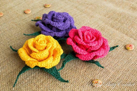 crochet flower applique pattern crochet rose pattern crochet flower pattern for home decor. Black Bedroom Furniture Sets. Home Design Ideas