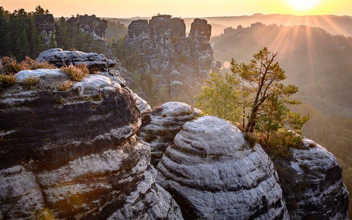Lataa kuva Bastei, vuoret, kallioita, sunset, Saksa