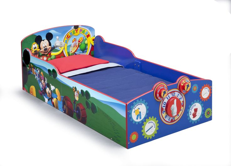 Features: -Mickey Mouse collection. -Material: Strong and sturdy wood. -Recommended for ages 15 months+. -Bedtime checklist on footboard easily wipes clean. -Dry-erase marker not included. -Inte