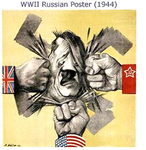 WW2 Russian poster featuring the Allies crushing Hitler.