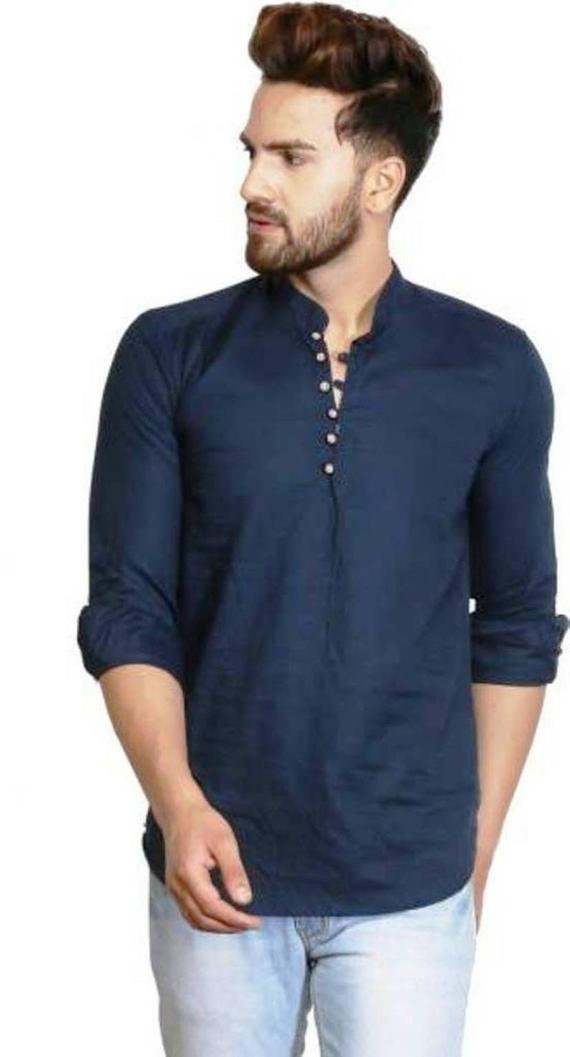 Indian Cotton Men's casual Shirt Kurta Tunic Top loose fit Animal Print blue