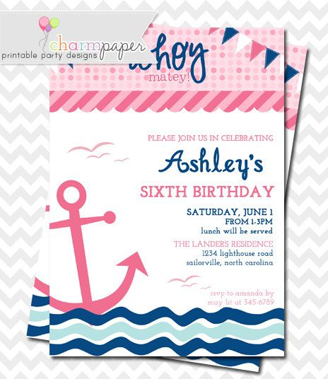 Best Leilanis Nautical Birthday Images On Pinterest Nautical - Nautical birthday invitation ideas