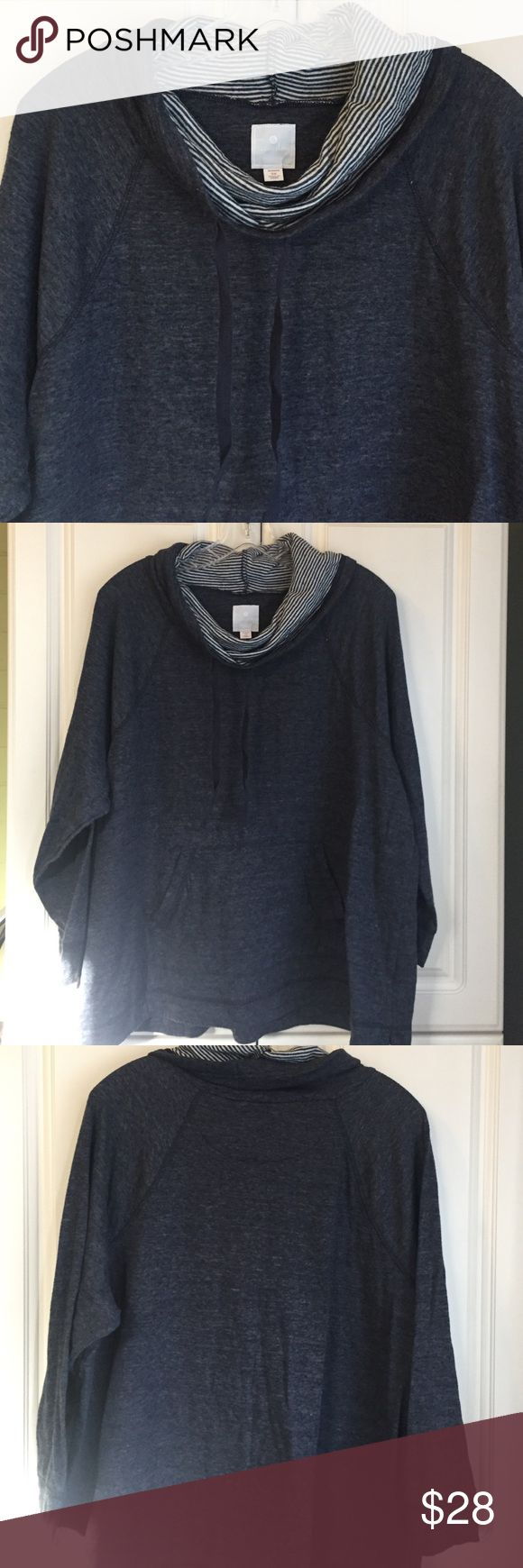 Cowl Neck Sweatshirt Super soft and worm without being bulky. Indigo blue in color with blue and white striped contrast. Handwarmer pockets. Made of poly/cotton/rayon. Sunday Tops Sweatshirts & Hoodies