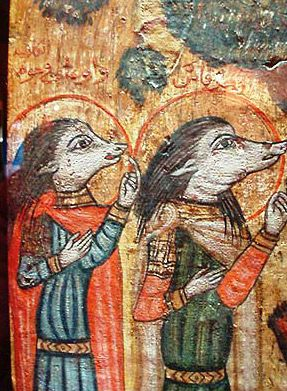 Coptic icon, dating to the 18th century, depicts Ahrakas and Oghani, who wear masks in the forms of dog heads.
