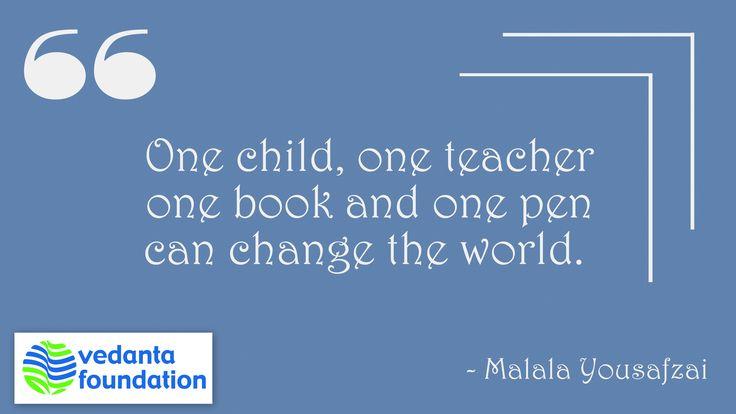 #QuoteOfTheDay #Quotes #Malala #Education #Change #World #Vedanta #India