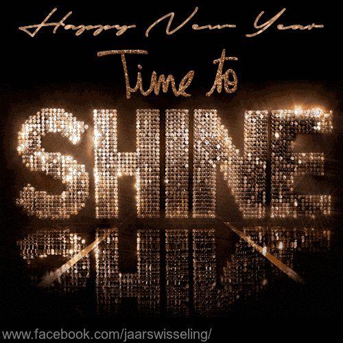 Happy new year, time to shine. Glitter, bling bling. Gelukkig nieuwjaar. DF,