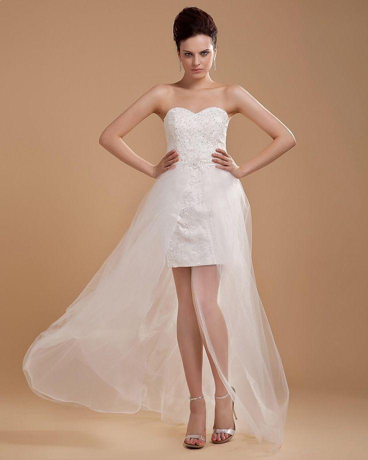 Satin Tulle Applique Beading Sweetheart Mini Wedding Dress  Read More:     http://www.weddingsred.com/index.php?r=court-train-satin-tulle-applique-beading-sweetheart-mini-wedding-dress.html