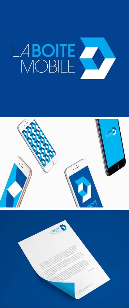Conception graphique de l'identité visuelle de l'agence de stratégie digitale La Boite Mobile (2014)