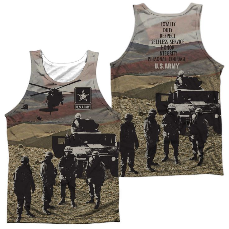 ARMY/VALUES (FRONT/BACK PRINT)-ADULT 100% POLY TANK TOP-WHITE-SM